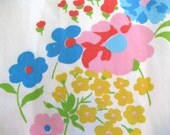 Vintage Flat Sheet Full Size - Super Brite Floral Pops on White, Made by Pacific