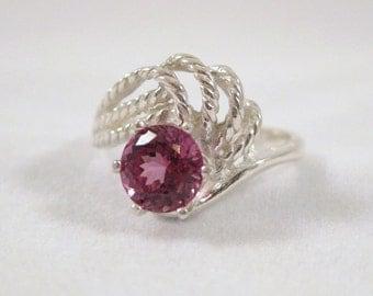 Garnet Spiral Swirl Ring