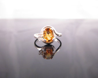 Golden Orange Sapphire Accent Ring