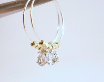 Aquamarine Gold Nuggets Hoop Earrings
