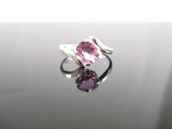Slanted Purplish Pink Sapphire Ring