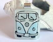 VW camper van - Blue Pendant Bespoke Fused Glass Jewellery Pendant - Hand Painted Blue Camper Van