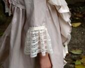 Mocha Pavlova girl's satin & lace ruffle coat