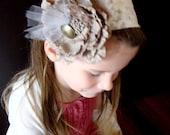 Maple Walnut Fudge girl's lace & blossom headband