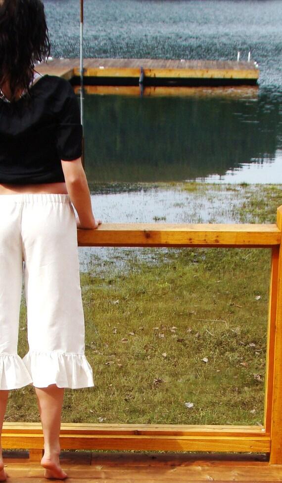 White Chocolate women's linen ruffle pants