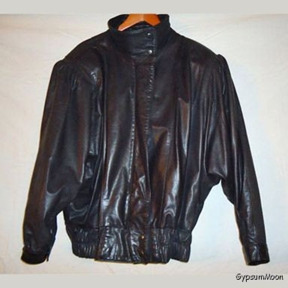 Retro 1980s Black Leather Jacket Gino Amp By Gypsummoonvintage