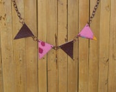 Reversible Bunting Necklace - Leather & Paper - Handmade Scottish Jewelry (BUN002)