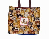 Reserved Large Cat-Themed Tote Bag for Samkat2008
