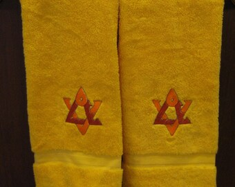 Star of David Hand Towel in Bright Yellow