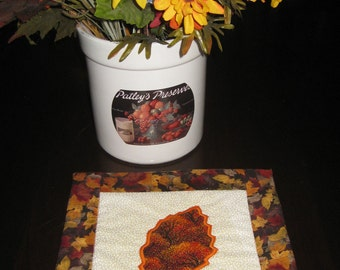 Decorative Fall  Mat with Appliqued Birch Leaf