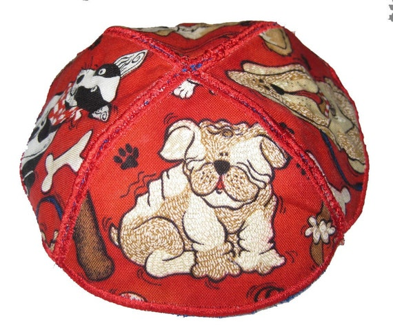 Reversible  Childs Kippah  Dogs and Chai