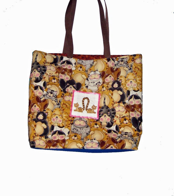 Large Cat-Themed Tote Bag