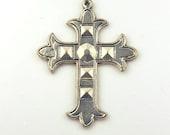 SALE - Dramatic Steampunk Silver Tone Large Metal Cross 2.1 x 1.7 Inch Pendant