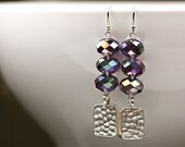 NEW - SHIMMER Amethyst Purple AB Fire Polished Glass Hammered Silver Earrings - OOAK