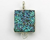 SALE - Peacock Blue-Green Druzy and Silver 1.6 Inch Pendant