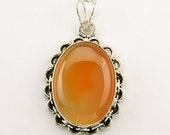 SALE - Honey Lemon Chalcedony Steampunk Sterling Silver 1.7 Inch Pendant