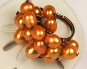 Sale - Autumn Copper and Freshwater Pearl Adjustable Cluster Ring - OOAK