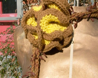 Crochet Flower /Lariat/ Necklace or Scarflette - Accessories/Women/Teens yellow and brown
