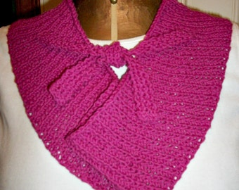 Rose Pink Cotton Scarf - Hand Knit / Accessories Women / Teens, gift