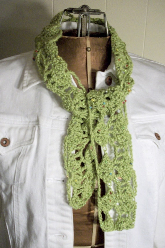 Beaded Crochet Lime Green Cotton scarf by AngelAndFairyDesigns