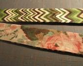 Spring sale- Chevron Print Tie Reversible Headband in Earth colors- reversible rose garden fabric