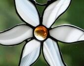 White Stained Glass Flower Suncatcher
