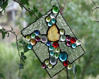 Stained Glass Panel Suncatcher Abstract Glass Art Agate and Multicolored Glass Cabochons