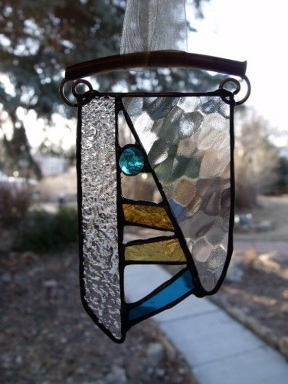 Textured Stained Glass Art and Abstract Mixed Media Art Suncatcher with Copper Hanger and Gold and Turquoise Glass - Neolithic Expressions