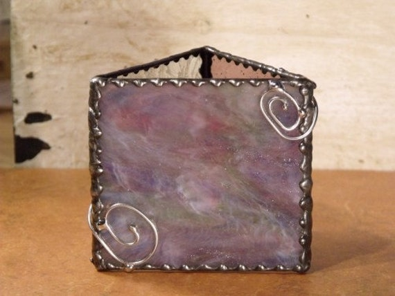 Stained Glass Candle Cover With Wire Spirals, Wispy Purple Pink White And Green Stained Glass Candle Cover