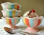 Coney Island Stripes. Four Hand Painted Ceramic Dessert Cups