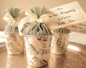 Musique d'Amour. Six Favor Cups With Antique Sheet Music and Crepe Pouf Tops