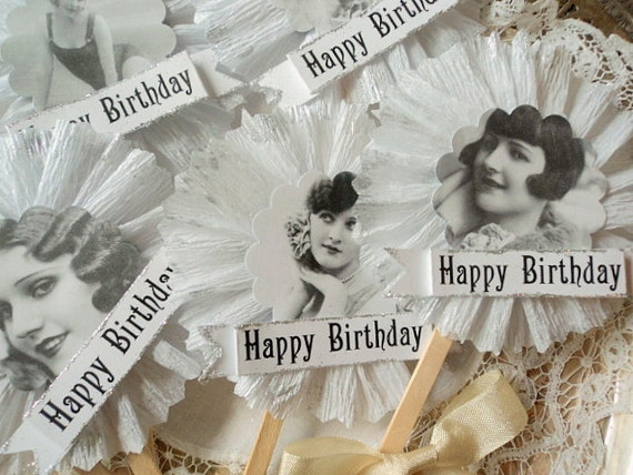Flapper Girls. Six Ruffled Happy Birthday Cupcake Toppers with 1920's Girls