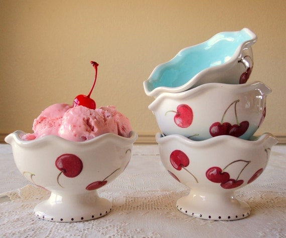 Reserved for H5M118- Hand Painted Ice Cream Cups with Cherries