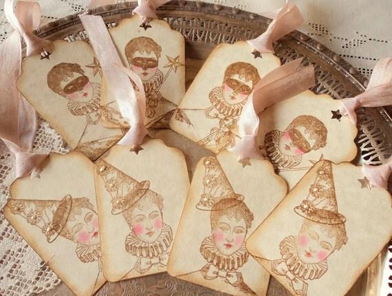 Belle Pierrette. Eight Antiqued Parchment Pierrette Gift Tags