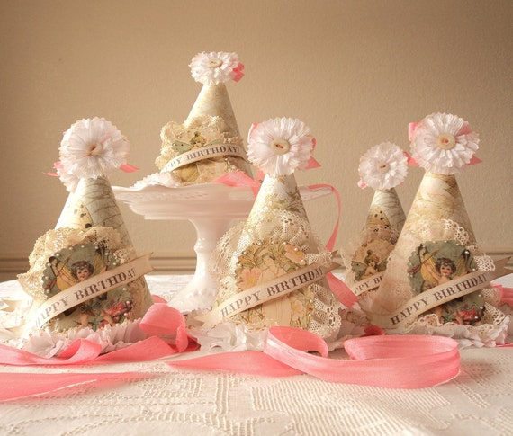 A Lovely Birthday. Six Hand Crafted Birthday Hats with Antique Lace and Ruffles