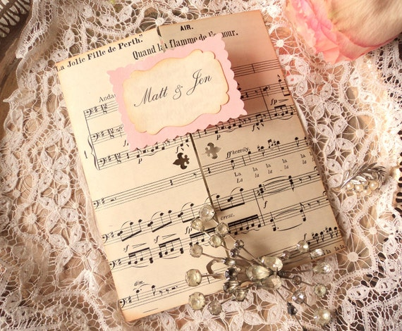Reserved for  jenred1000 - Wedding Invitations with Antique Sheet Music (4th Payment)