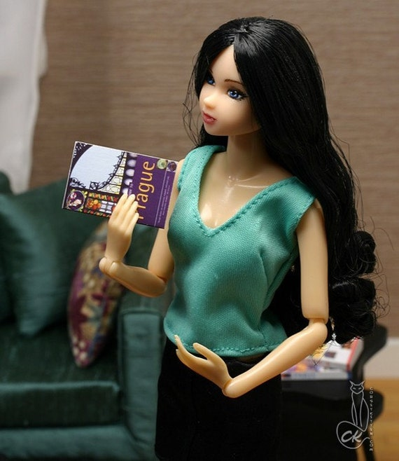 Prague travel guide miniature book for Momoko Blythe Fashion Royalty playscale 1/6 scale
