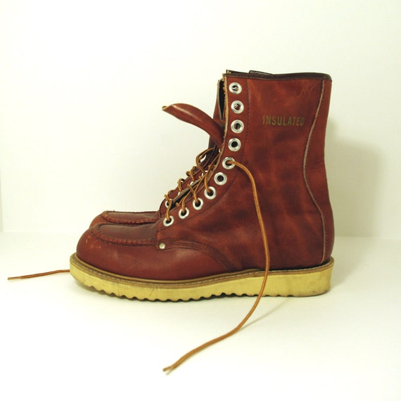 vintage leather steel toe work boots by jeanjuly on etsy