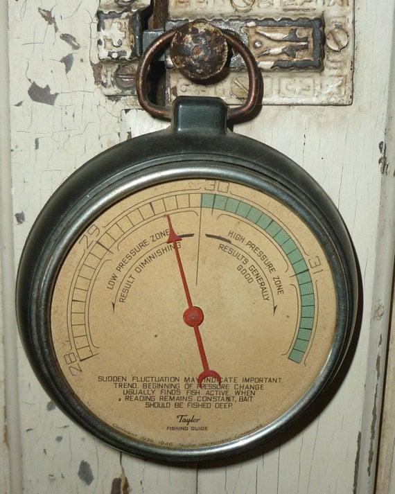 Vintage taylor fishing guide barometer for Barometer and fishing