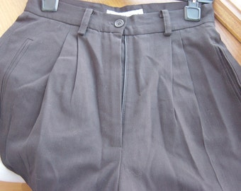 classic high waist wool pleated front brown pants 2 petite xs