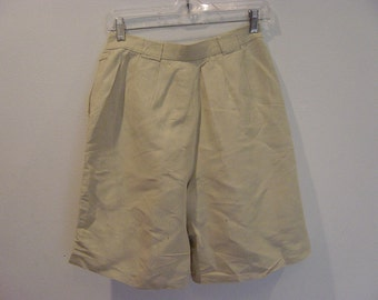 vintage high waist pleated khaki linen blend shorts medium petite