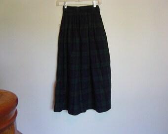 classic vintage plaid midi skirt xs