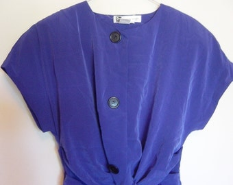 vintage 80s  fantastic slouchy electric blue dress