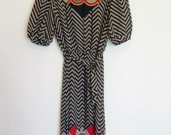 80s patterned dress