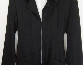 Vintage 90s Black Zipper Boyfriend Blazer XS-S