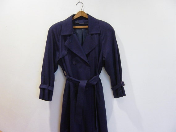vintage navy london fog slouchy structured raincoat 6P S