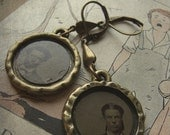 Creepy Antique Tintype Portrait Earrings - The Look of Death