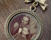 OOAK Victorian Tintype and Antiqued Brass Necklace - The Devil and His Daughter