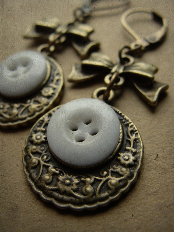 Tea Time - Antique Porcelain Button and Brass Earrings