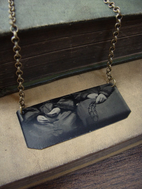 OOAK Altered Victorian Tintype Necklace With Hand-drawn Feather - Plucked
